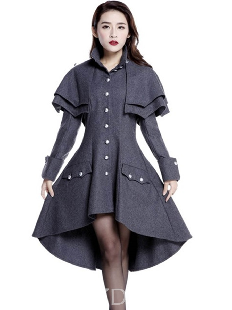 Ericdress Single-Breasted Wave Cut Slim Skirted Coat