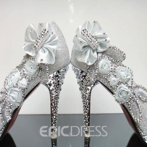 Gorgeous Stiletto Flowers Rhinestone Charming PromShoes