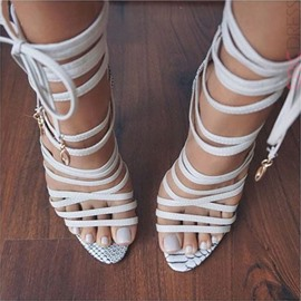 Ericdress White Wrap Up Open Toe Stiletto Sandals