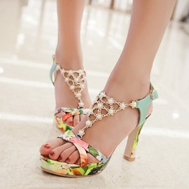 Ericdress Beading Floral Printed Chunky Sandals