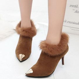Ericdress Metal Decorated Furry Point Toe High Heel Boots