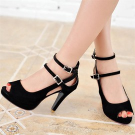 European Ankle Strap Peep-toe Stiletto Sandals