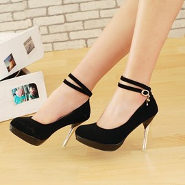 Double Straps Platform Women's Pumps