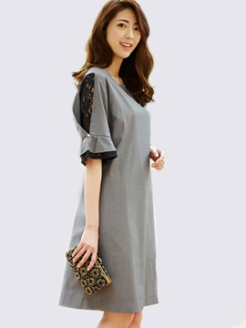Ericdress Ruffle Sleeve Split Lace Patchwork Loose Casual Dress