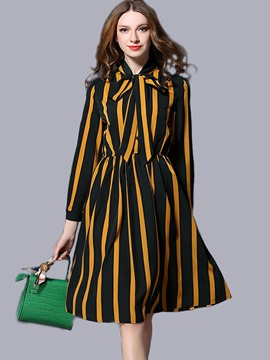 Ericdress Strip Color Block Lace-Up Stand Collar Casual Dress