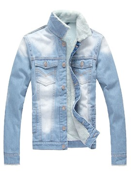 Ericdress Flocking Stand Collar Men's Denim Jacket