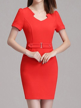 Ericdress OL Belt Button Pocket Bodycon Dress