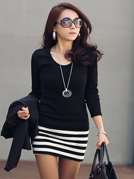 Ericdress Strip Patchwork Long Sleeve Bodycon Dress