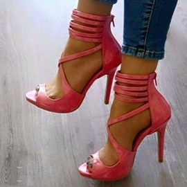 Ericdress Pink Crossed Strap Stiletto Sandals
