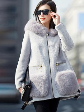 Ericdress Loose Faux Fur Patchwork Thick Coat