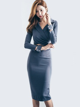 Ericdress Notched Lapel V-Neck Pleated Button Hollow Long Sleeve Sheath Dress