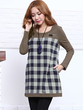 Ericdress Plaid Patchwork Patchwork Casual Dress