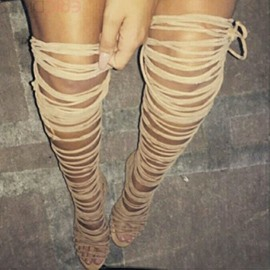 Ericdress Wrap Up Thigh High Sandal Booties