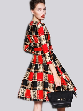 Ericdress Plaid Color Block Belt Pleated Casual Dress