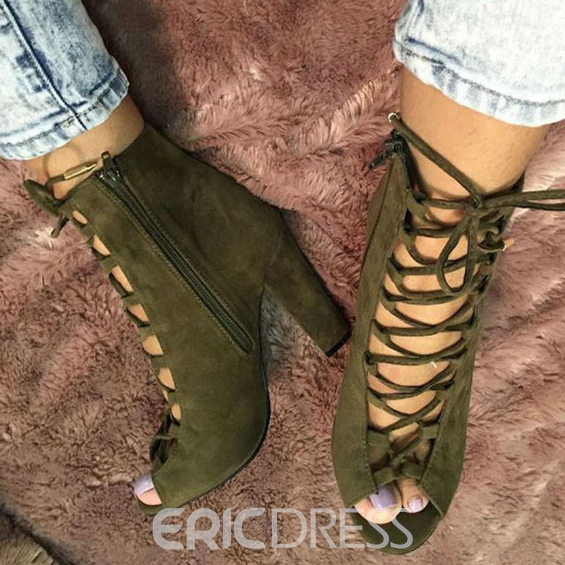 Ericdress Army Green Lace Up Chunky Sandals