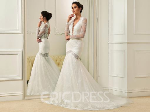 Ericdress Sexy V Neck Long Sleeves Backless Mermaid Lace Wedding Dress
