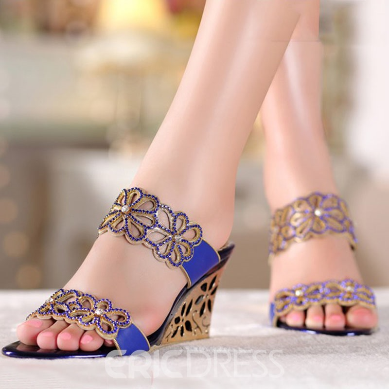 Ericdress Unique Bright Rhinestone Wedge Sandals