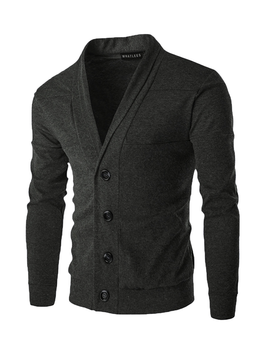 Ericdress V-Neck Single-Brasted Patchwork Casual Men's Knitwear