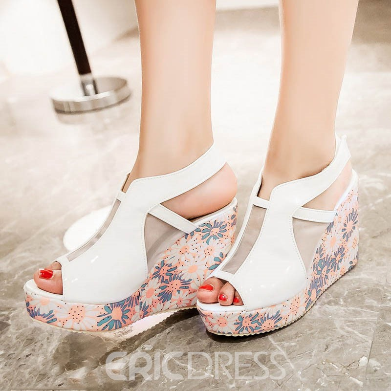 Ericdress Mesh Patchwork Peep Toe Wedge Sandals