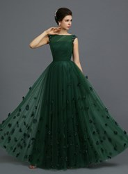 #dress Vintage Bateau Appliques A-Line Long Evening Dress