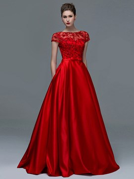Amazing Short Sleeves Appliques Sequins Long Evening Dress