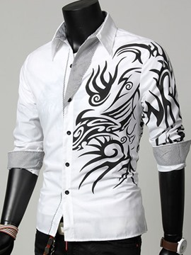 Ericdress Vogue Floral-Print Lapel Long Sleeves Men's Shirt
