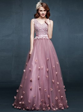 Charming A-Line V-Neck Appliques Flowers Floor-Length Evening Dress