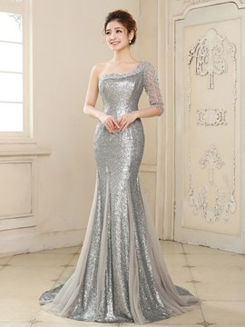 Ericdress Elegant Mermaid One-Shoulder Half Sleeve Sequins Evening Dress