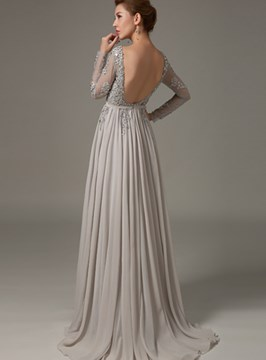 Ericdress Beaded Backless A-Line Evening Dress With Long Sleeves