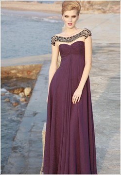 Gorgeous A-Line Empire Waist Beading Evening/Homecoming Dress