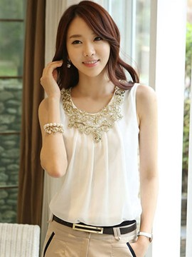 Ericdress Solid Color Sleeveless Chiffon T-shirt