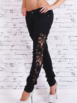 Ericdress Slim Solid Color Lace Hollow Jeans