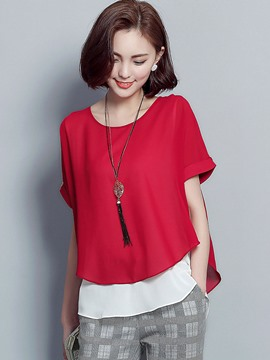 Ericdress Casual Color Block Chiffon Blouse