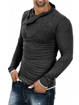 Ericdress Plain Button Decorated Pullover Men's Hoodie
