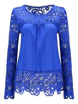Ericdress Solid Color Lace Patchwork Pleated Blouse