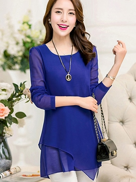 Ericdress Casual Asymmetric Chiffon Blouse