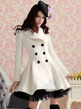 Glamorous Wool Yarn Double-breasted Overcoat