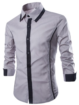 Ericdress Color Block Long Sleeve Design Men's Shirt