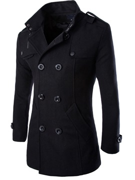Ericdress Lapel Double-Breasted Long Sleeve Overcoat