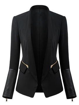 Ericdress Black Cotton Stand Collar Blazer