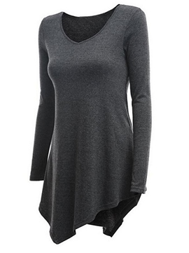 Ericdress Plain Asymmetric Tunic T-shirt