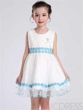 Ericdress Patchwork Sleeveless Girls Dress