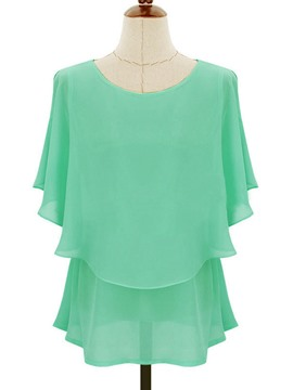 Ericdress Summer Plain Chiffon Blouse