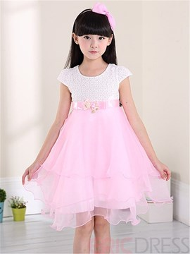 Ericdress Patchwork Short Sleeve Color Block Girls Dress