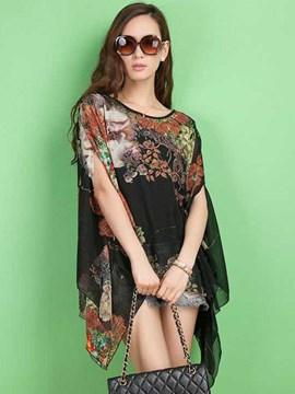 Ericdress Floral Print Casual Chiffon Blouse