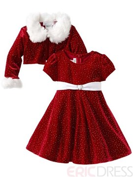 Ericdress Polka Dots Christmas Girls Outfit