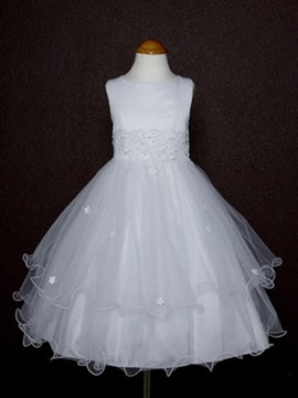 Elegant A-line Tea-length Round-Neck Appliques Flower Girl Dress