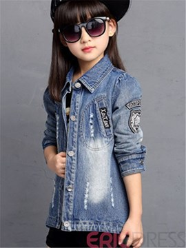 Ericdress Lapel Girls Denim Jacket
