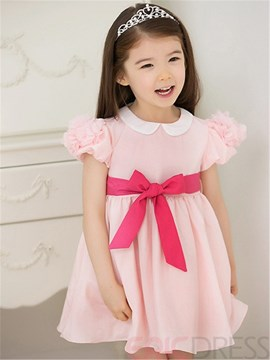 Ericdress Solid Color Bandage Bowknot Girl's Dress