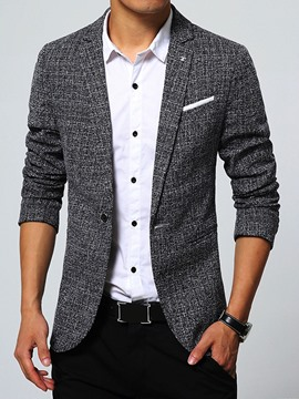 Ericdress Plain Slim Small Fit Notched Lapel Basic Men's Leisure Blazer